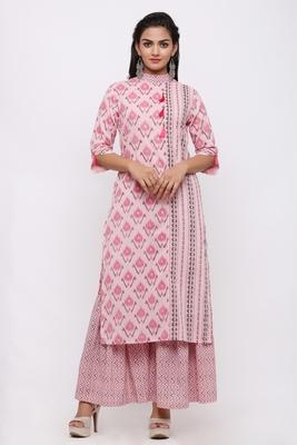 Women's Cotton Ikat Printed Straight Pink Kurta Sharara Set