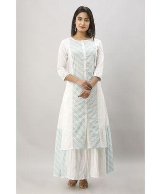 Women's White & Blue Cotton Stripe Printed Straight Kurta with Skirt Set