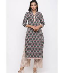 Women's Cotton Flex Straight Ikat Printed Kurta with Palazzo Set