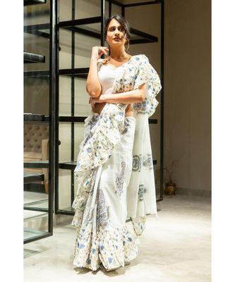 Off White block print cotton saree with blouse