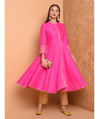 Set of Full Anarkali Silk Kurta with Brocade Pant.
