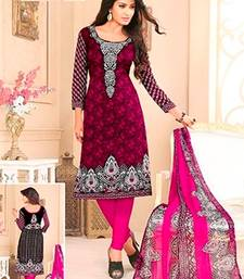 Buy Multicolor printed crepe unstitched salwar with dupatta salwar-kameez-below-500 online