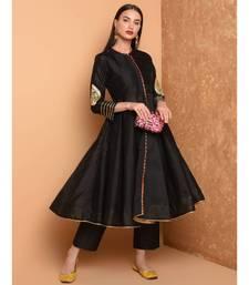 Set of Full Anarkali Silk Kurta with Brocade Pant.