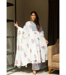 Off White block print Cotton kurta sets