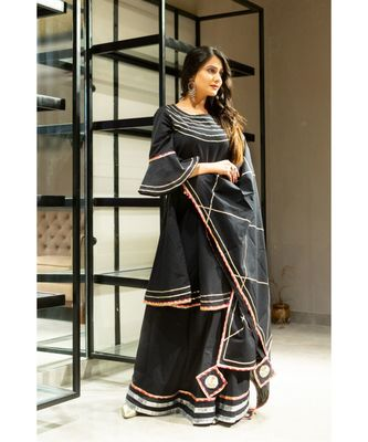 Black block print Cotton kurta sets