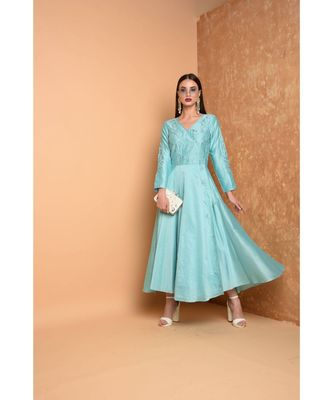 Turquoise Silk Embroidered Suit Set