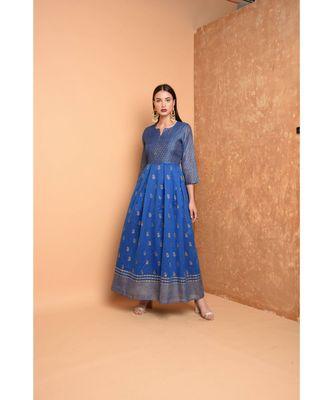 Blue Chanderi Hand Painted Suit Set