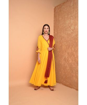 Yellow Georgette Embroidered Suit Set