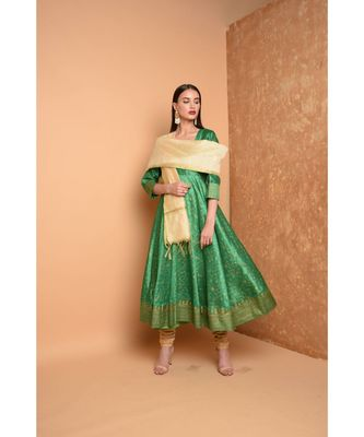 Green Silk Hand Painted Suit Set