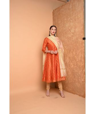 Orange Silk Hand Painted Suit Set