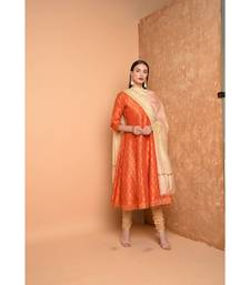 Orange Silk Hand Painted Suit Set