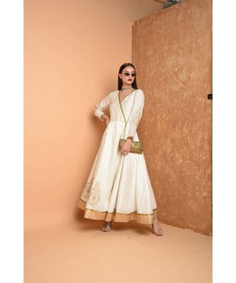 White Silk Embroidered Suit Set