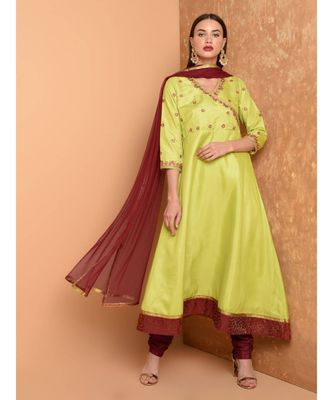 Green Silk Embroidered Suit Set
