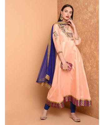 Peach Silk Embroidered Suit Set