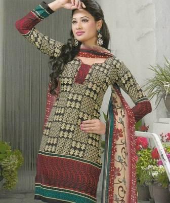 Crepe dress material elegant designer unstitched salwar suit d.no 5154