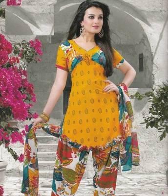 Crepe dress material elegant designer unstitched salwar suit d.no 5155