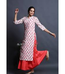 cotton embroidered pink kurta with dress
