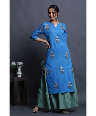 cotton embroidered cobalt kurta with dress