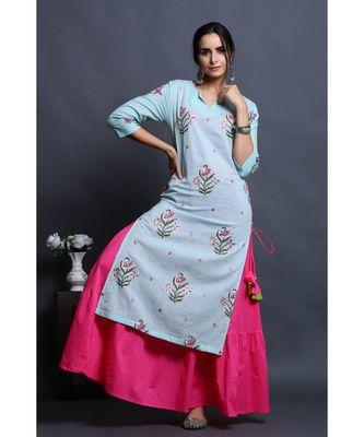 cotton embroidered sky kurta with dress