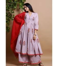 cotton embroidered muave kurta set