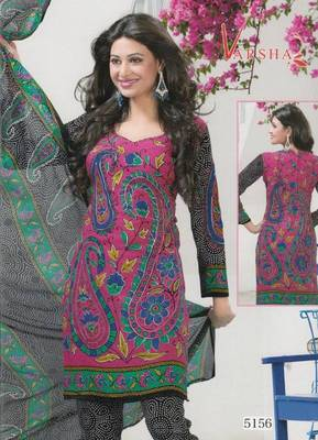 Crepe dress material elegant designer unstitched salwar suit d.no 5156