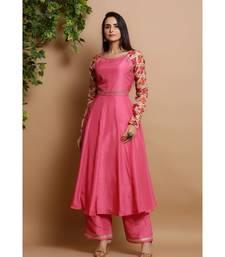 silk pink anarkali