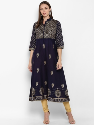Womens Navy Blue Cotton Block Printed Anarkali