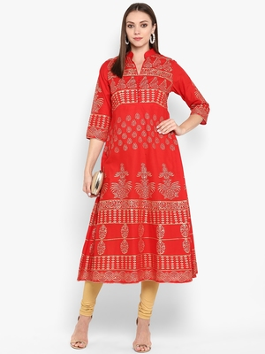 Womens Red Cotton Block Printed Anarkali