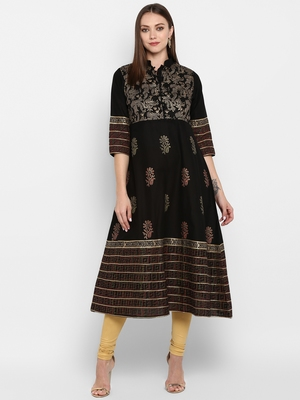 Womens Black Cotton Block Printed Anarkali