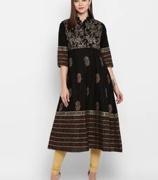 Womens Black Cotton Block Printed Anarkali