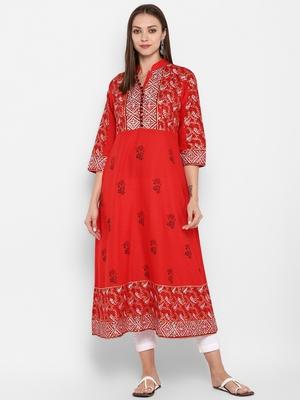 Womens Red Cotton Block Printed Anarkali
