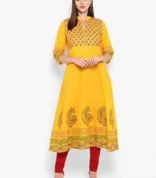 Womens Yellow Cotton Block Printed Anarkali