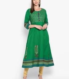 Womens Green Cotton Block Printed Anarkali