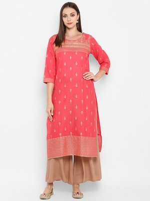 Womens Red Cotton Block Printed Kurta