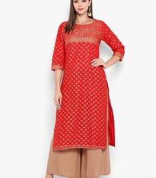 Womens Red Cotton Block Printed Kurta