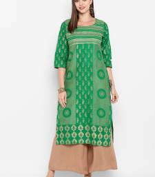 Womens Green Cotton Block Printed Kurta