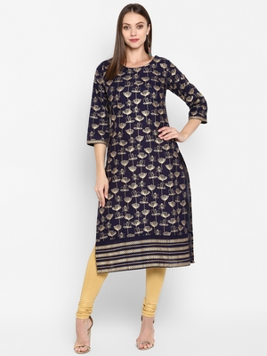 Womens Navy Blue Cotton Block Printed Kurta