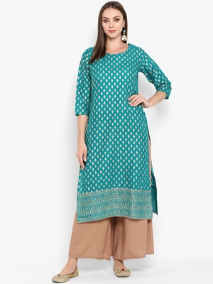 Womens Green Cotton Block Printed Kurta