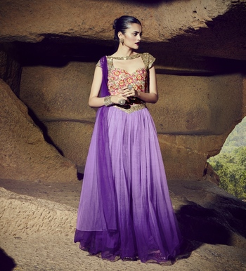 Purple plain art silk semi stitched lehenga