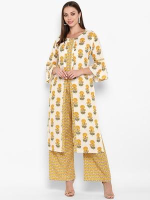 Womens Yellow Cotton Printed Straight Kurta