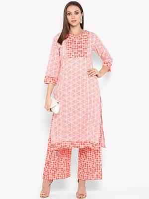Womens Red Cotton Printed Straight Kurta