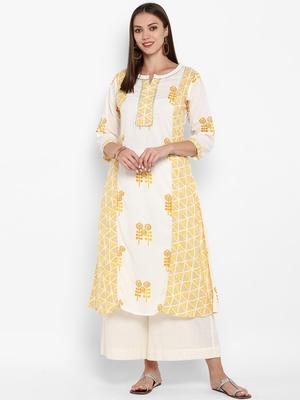 Womens White and Yellow Cotton Printed A-line Kurta