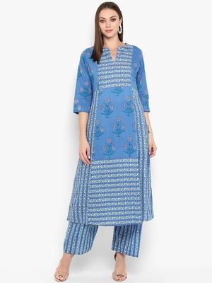 Womens Blue Cotton Printed Anarkali Kurta