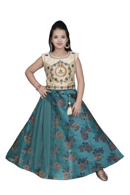 SEA GREEN FLORAL BROCADE LEHENGA WITH CREAM EMBROIDERED CHOLI AND SEA GREEN NET DUPATTA