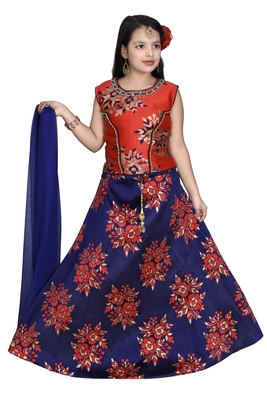 RED FLORAL BROCADE LEHENGA WITH BLUE  CHOLI AND NET DUPATTA