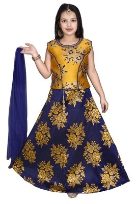 yellow YELLOW FLORAL BROCADE LEHENGA WITH BLUE  CHOLI AND NET DUPATTA
