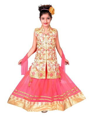 PINK NET LEHENGA WITH CREAM EMBROIDERED CHOLI AND PINK NET DUPATTA