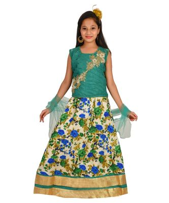SEA GREEN FLORAL PRINT LEHENGA WITH PATCH WORK CHOLI AND NET DUPATTA