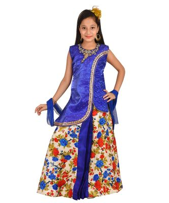 BLUE FLORAL PRINT PLATED LEHENGA WITH PATCH WORK CHOLI AND NET DUPATTA