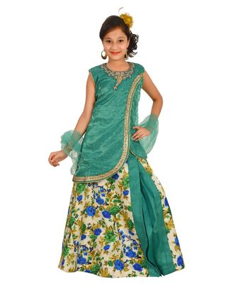 SEA GREEN FLORAL PRINT PLATED LEHENGA WITH PATCH WORK CHOLI AND NET DUPATTA